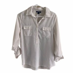Old Navy white sheer blouse shirt size small